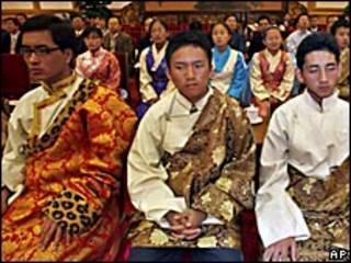 Estudiantes tibetanos en la celebración