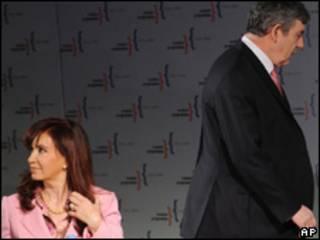 Cristina Fernández y Gordon Brown