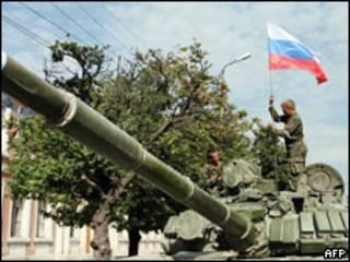 Tanque russo durante ofensiva na Geórgia, em 2008
