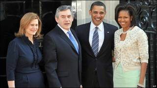 ara y Gordon Brown junto a Barack y Michelle Obama