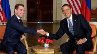 Dmitry Medvedev, presidente de Rusia y Barack Obama, presidente de EE.UU.