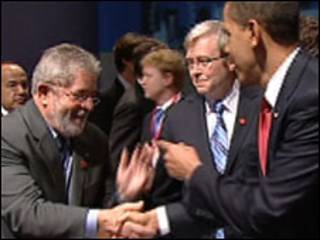 Lula e Obama em reunião do G20