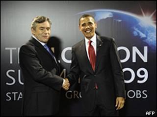 Barack Obama y Gordon Brown