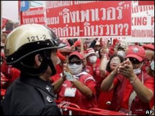 Manifestantes de la oposición en Tailandia