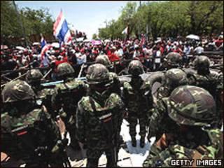 Manifestantes en Bangkok