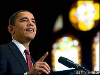 Barack Obama durante discurso na Universidade de Georgetown