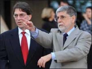 O ministro das Relações Exteriores de Cuba, Bruno Rodríguez, e o chanceler Celso Amorim em 8 de abril. Foto: Fábio Rodrigues Pozzebom/ABr