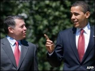 اوباما و ملک عبدالله دوم در محوطه کاخ سفید