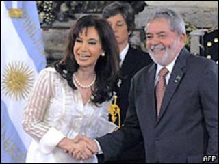 Luiz Inácio Lula da Silva e Cristina Kirchner, em Buenos Aires