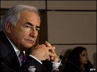Dominique Strauss-Kahn, na reunião do FMI em Washington