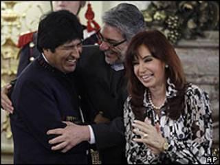 Los presidentes de Argentina, Bolivia y Paraguay, en el acuerdo sobre la Guerra del Chaco.