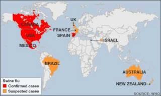 Bản đồ chỉ tình trạng lây truyền của cúm heo trên thế giới