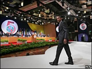 Obama durante a Cúpula das Américas, no início deste ano (arquivo)
