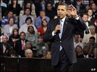 Barack Obama durante discurso no Missouri