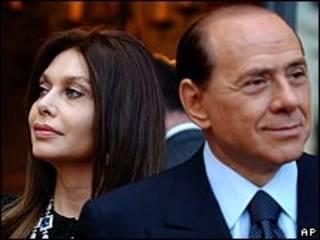 Silvio Berlusconi y su mujer, Verónica Lario