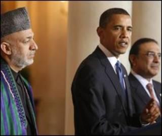 اوباما پس از دیدار با زرداری و کرزی سخن گفت