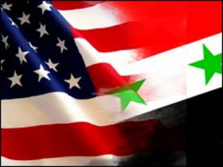 پرچم سوریه و آمریکا