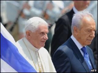 Benedicto XVI y Shimon Peres, presidente de Israel