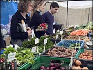 Feira de alimentos orgânicos em Londres