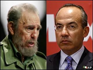 Fidel Castro (izq.) y Felipe Calderón