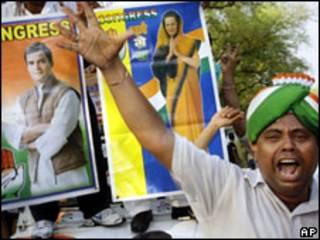 Сторонники партии Индийский национальный конгресс