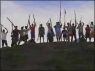 Manifestantes no Peru