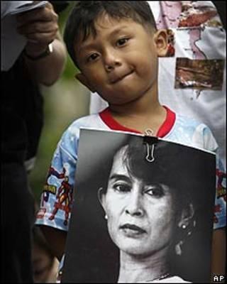Protesta en favor de Aung San Suu Kyi