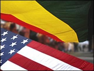 Banderas de Bolivia y EE.UU. (composición)