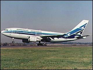 Avión de Aerolíneas Argentinas. Imagen de archivo de 1994.