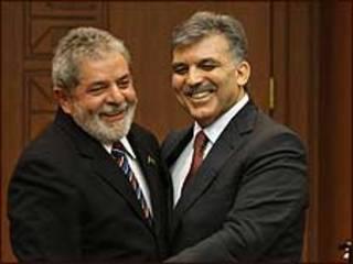 O presidente Lula e o seu colega turco, Abdullah Gül, em Ancara (foto: Ricardo Stuckert/PR)
