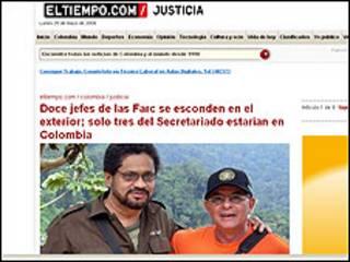 Imagen del diario El Tiempo con información sobre las FARC