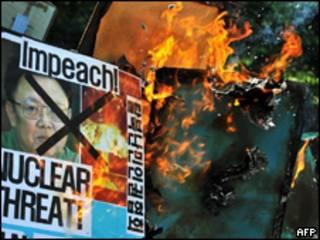 Protestos eem Seul contra teste nuclear da Coreia do Norte (AFP, 25/5)