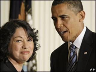 Sonia Sotomayor con el presidente Barack Obama