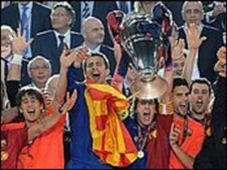 جشن بارسلونا پس از پیروزی
