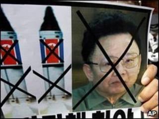 Cartaz de protesto contra teste nuclear da Coreia do Norte