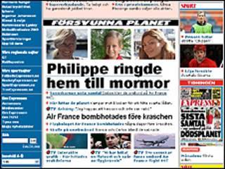 Página web del periódico sueco Expressen con las fotos de Christine y Philipe