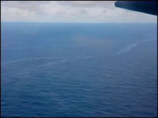 Mancha encontrada por aeronave brasileira (Foto: FAB)