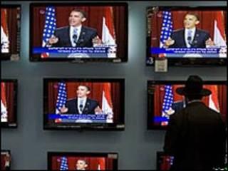 اوباما در حین سخنرانی در قاهره