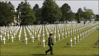 Cementerio estadounidense en Normandía, Francia