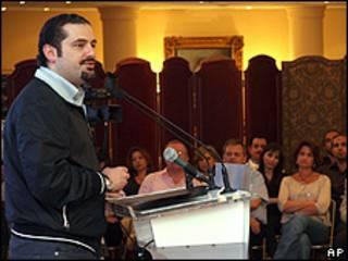 Saad al-Hariri, líder governista do Líbano, discursa em sua casa, declarando a vitória
