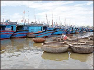Tàu cá Việt Nam nằm trên bờ (ảnh báo Thanh Niên)
