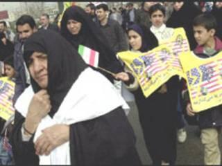 Manifestação anti-EUA no Irã em 2002