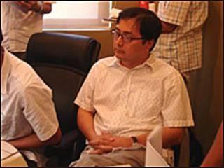 LS Lê Công Định khi bị bắt (ảnh của báo Công An Nhân dân)