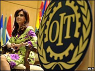 Cristina Fernández en la cumbre de la OIT.