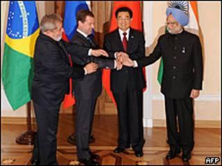 Os chefes de Estado de Brasil, Rússia, China e Índia