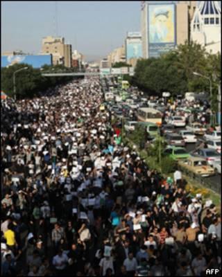Protesto da oposição em Teerã nesta quarta-feira (AFP)