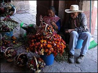 Vendedores de flores en México