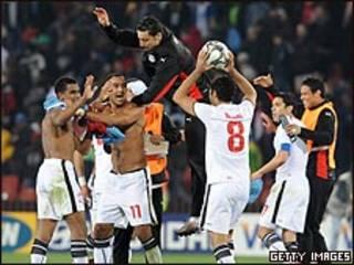 فرحة المنتخب المصري بعد الفوز
