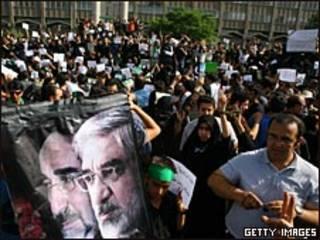 Manifestantes en las calles de Teherán.