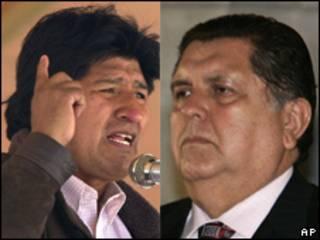 Evo Morales, presidente de Bolivia, y Alan García, presidente de Perú